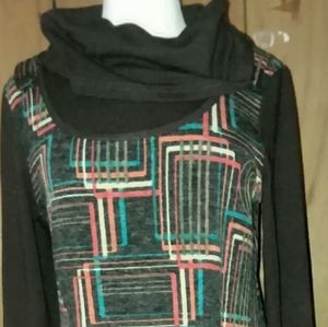 Aruyeh XL Dress Geometric Cowl Collar Casual Fall